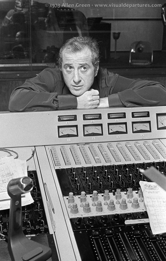 Jerry Leiber leaning on the mixing console
