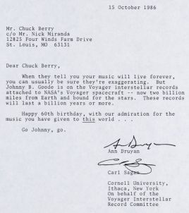 A letter to Chuck Berry from Ann Druyan and Carl Sagan