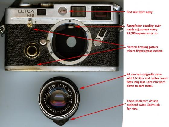 """Well-worn Leica M6 (from <a href=""""http://blakeandrews.blogspot.com/2012/11/camera-as-artifact.html"""" target-""""_blank"""">http://blakeandrews.blogspot.com/2012/11/camera-as-artifact.html</a>)"""