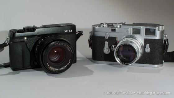 Fuji X-E1 beside the Leica M3