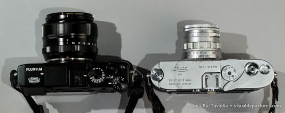 Top view: Fuji X-E1 and Leica M3