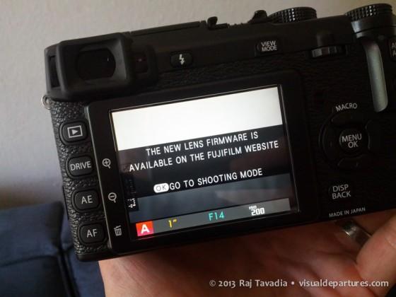 Fuji X-E1 firmware update message