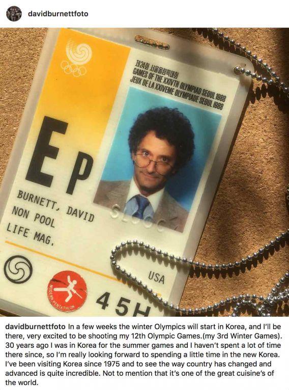 David Burnett's press pass from the 1988 Olympics